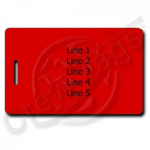 RED PLASTIC LUGGAGE TAG - SAME BOTH SIDES