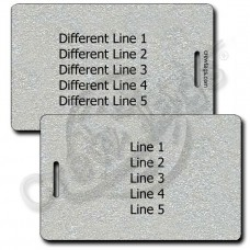 METALLIC SILVER PLASTIC LUGGAGE TAG - DIFFERENT EACH SIDE