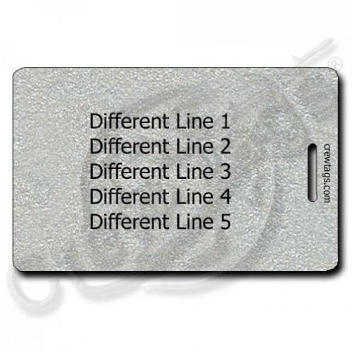 PERSONALIZED METALLIC SILVER PLASTIC LUGGAGE TAG - DIFFERENT EACH SIDE