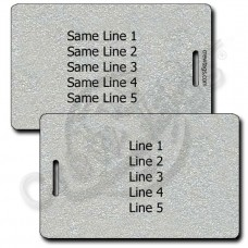 PERSONALIZED METALLIC SILVER PLASTIC LUGGAGE TAG - SAME BOTH SIDES