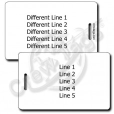 WHITE PLASTIC LUGGAGE TAG - DIFFERENT EACH SIDE