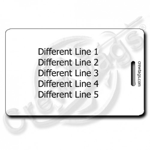 white personalized luggage tag