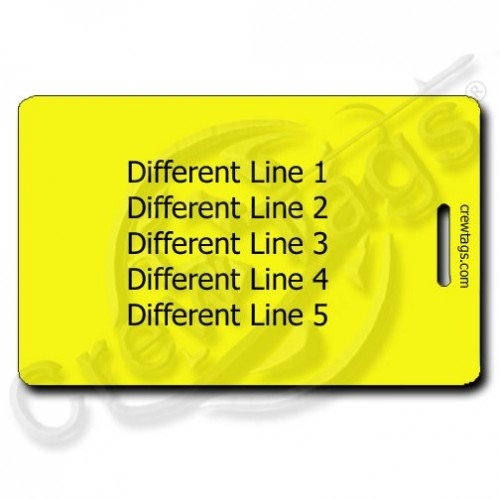 PERSONALIZED YELLOW PLASTIC LUGGAGE TAG - DIFFERENT EACH SIDE