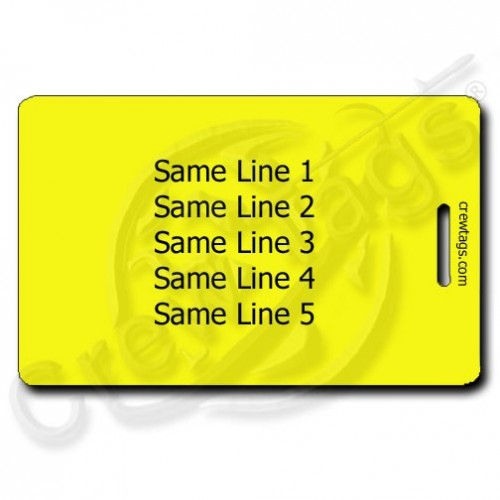yellow personalized luggage tag