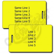 PERSONALIZED YELLOW PLASTIC LUGGAGE TAG - SAME BOTH SIDES