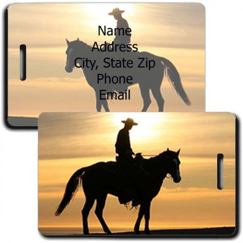 PERSONALIZED COWBOY LUGGAGE TAGS