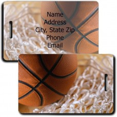 PERSONALIZED BASKETBALL LUGGAGE TAGS