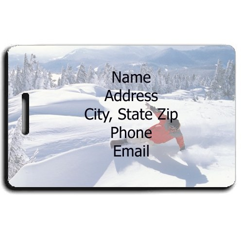 PERSONALIZED SNOWBOARDER LUGGAGE TAG