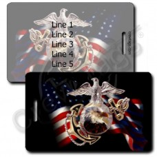 UNITED STATES MARINE CORP BLACK EAGLE FLAG LUGGAGE TAGS