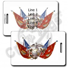 UNITED STATES MARINE CORP FLAGS WITH EAGLE GLOBE AND ANCHOR LUGGAGE TAGS