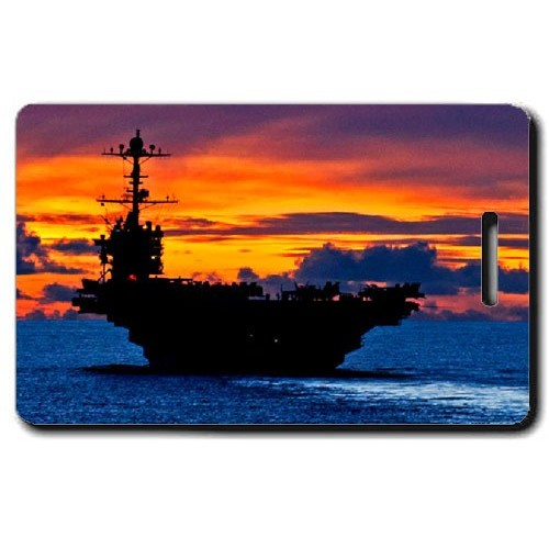sunset aircraft carrier luggage tags