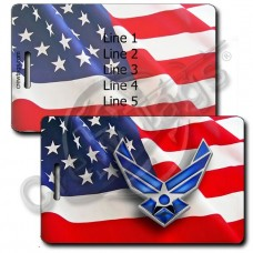 WAVING AMERICAN FLAG LUGGAGE TAGS - UNITED STATES AIR FORCE