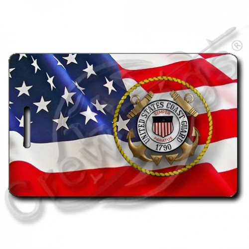 WAVING AMERICAN FLAG LUGGAGE TAGS PERSONALIZED UNITED STATES COAST GUARD