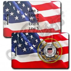 WAVING AMERICAN FLAG LUGGAGE TAGS - UNITED STATES COAST GUARD