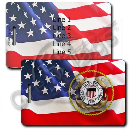 PERSONALIZED WAVING AMERICAN FLAG LUGGAGE TAGS UNITED STATES COAST GUARD