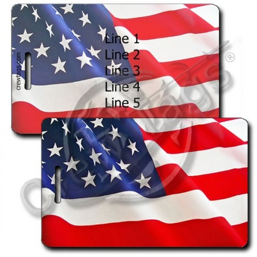 PERSONALIZED WAVING AMERICAN FLAG LUGGAGE TAG