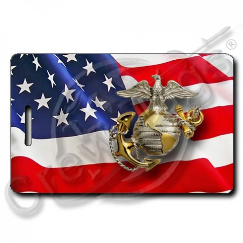 WAVING AMERICAN FLAG LUGGAGE TAGS PERSONALIZED UNITED STATES MARINE CORPS