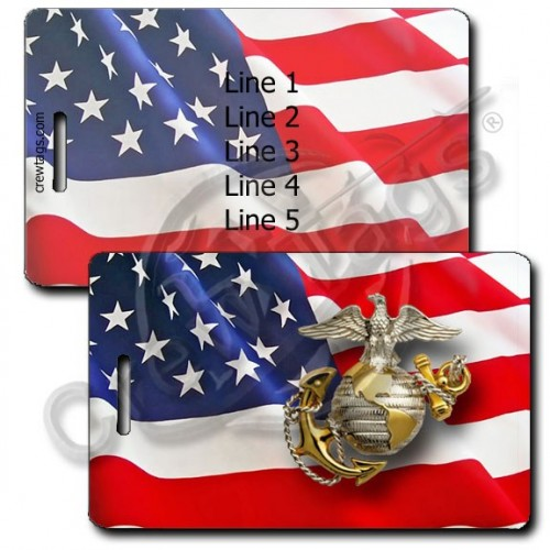 PERSONALIZED WAVING AMERICAN FLAG LUGGAGE TAGS UNITED STATES MARINE CORPS