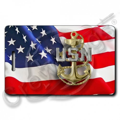 WAVING AMERICAN FLAG LUGGAGE TAGS PERSONALIZED UNITED STATES NAVY