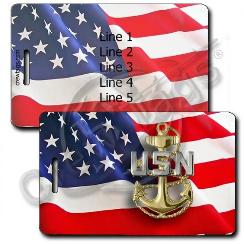 PERSONALIZED WAVING AMERICAN FLAG LUGGAGE TAGS UNITED STATES NAVY