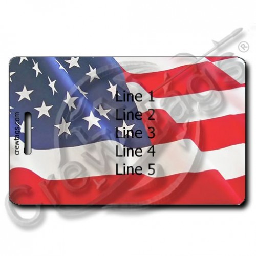 AMERICAN FLAG PERSONALIZED LUGGAGE TAG