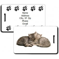 CAT LUGGAGE TAGS WITH PAW PRINT BACK