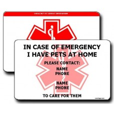 Emergency Pet Contact Information Horizontal Wallet Card