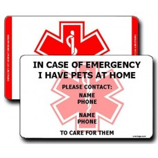 Emergency Pet Contact Information Vertical Wallet Card