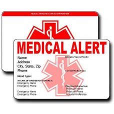 Medical Alert Horizontal Wallet Card