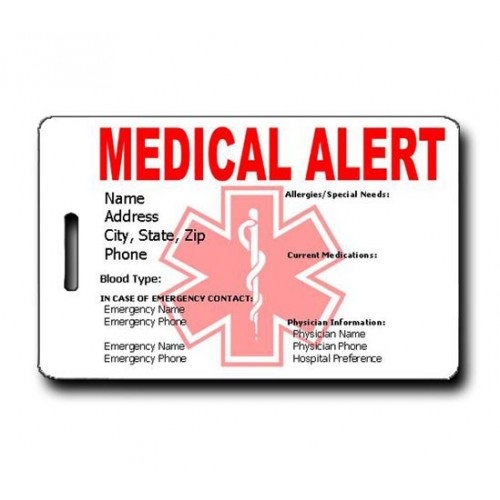 Medical Alert Emergency Pet Luggage Tag