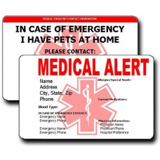 Medical Alert/Pet Emergency Contact Horizontal Wallet Card