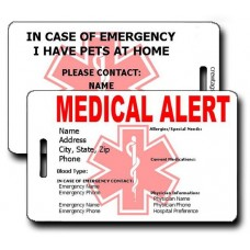 Medical Alert/Emergency Pet Luggage Tag
