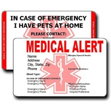 Medical Alert/Pet Emergency Contact Vertical Wallet Card