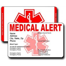 Medical Alert Vertical Wallet Card