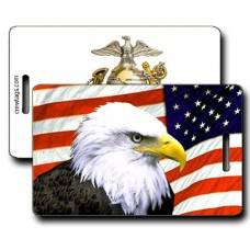 USMC Eagle Globe and Anchor with American Flag and Eagle Luggage Tag