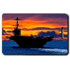 USN Carrier At Sunset Luggage Tag