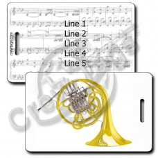 DOUBLE FRENCH HORN LUGGAGE TAGS