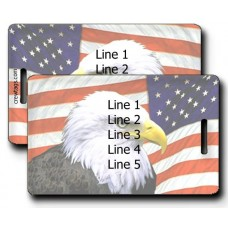 AMERICAN FLAG AND EAGLE LUGGAGE TAGS (SAME Both Sides)