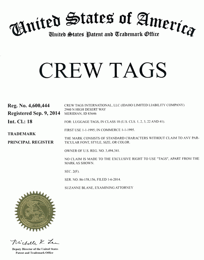 Crew Tags Trademark