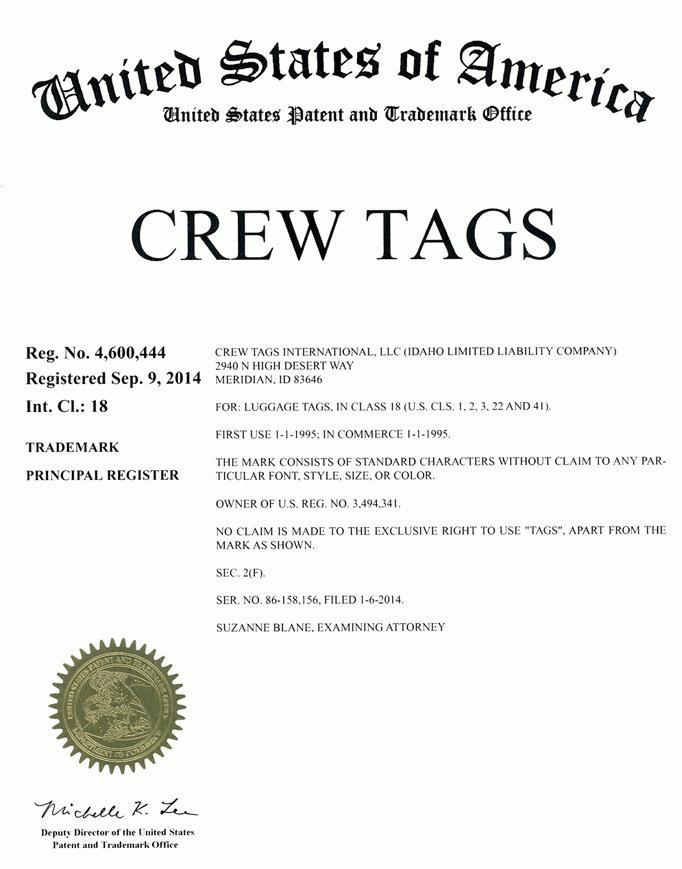 Crew Tags Trademark